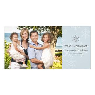 Tarjeta azul y gris del día de fiesta del copo de  tarjeta personal