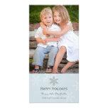 Tarjeta azul y gris del día de fiesta del copo de  tarjeta fotográfica personalizada
