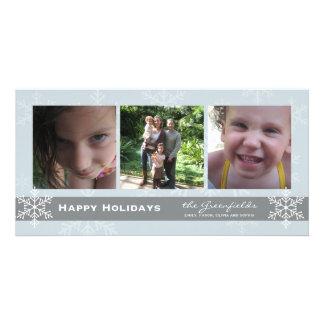 Tarjeta azul y gris del día de fiesta del copo de  tarjetas fotograficas personalizadas