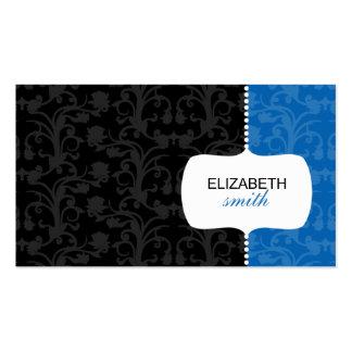 Tarjeta azul y negra del damasco caprichoso de vis plantilla de tarjeta de visita