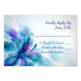 """Tarjeta azul y púrpura abstracta de RSVP del Invitación 3.5"""" X 5"""""""