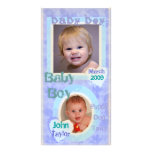 Tarjeta azul y púrpura del bebé del vintage de la  tarjeta fotografica personalizada