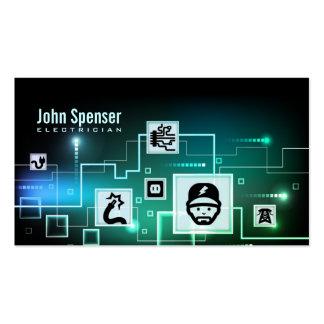 Tarjeta azul y verde de la pendiente del electrici tarjetas personales