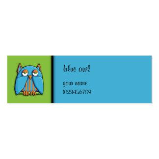 Tarjeta azulverde de la pequeña empresa del búho a plantillas de tarjetas personales