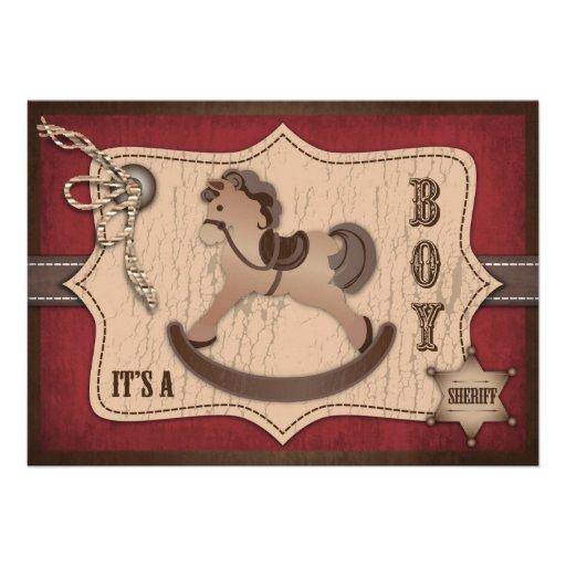 Tarjeta B de la invitación del bebé del vaquero