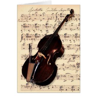 Tarjeta - bajo doble con partitura escrita mano