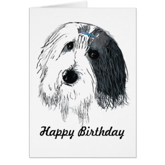 Tarjeta barbuda del collie del feliz cumpleaños
