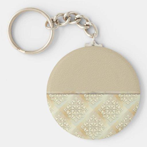 Tarjeta beige del personalizable del vintage del c llaveros