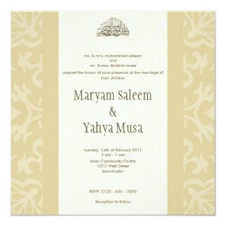 Tarjeta beige islámica de la invitación del boda