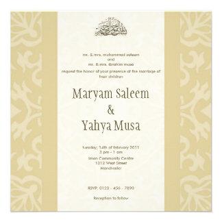 Tarjeta beige islámica de la invitación del boda d