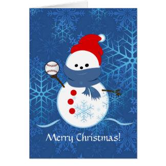 Tarjeta - béisbol del muñeco de nieve