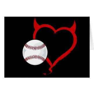 Tarjeta - béisbol diabólico del corazón