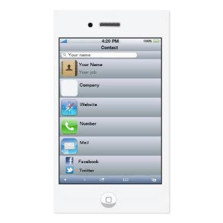 Tarjeta blanca adaptable profesional del iPhone Plantilla De Tarjeta De Negocio