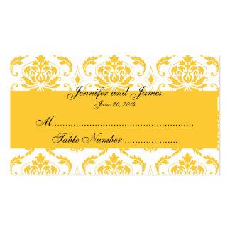 Tarjeta blanca amarilla del lugar del boda del dam tarjeta de visita