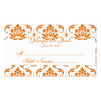 Tarjeta blanca anaranjada del lugar del boda del tarjetas de visita