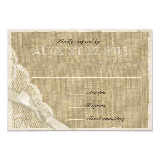 Tarjeta blanca antigua de la respuesta del país invitación 8,9 x 12,7 cm