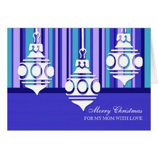 Tarjeta blanca azul de las Felices Navidad de la m