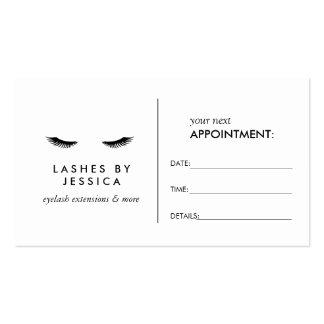 Tarjeta blanca clásica de la cita de las pestañas tarjetas de visita