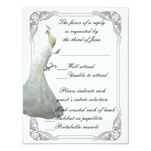 """Tarjeta blanca de encargo de la respuesta del boda invitación 4.25"""" x 5.5"""""""