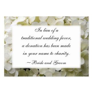 Tarjeta blanca de la caridad del boda del Hydrange Tarjeta De Visita