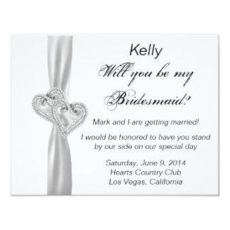 Tarjeta blanca de la dama de honor del boda del comunicados personales