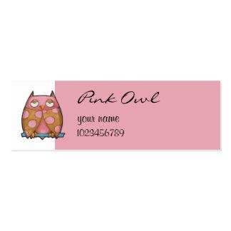 Tarjeta blanca de la pequeña empresa del búho rosa tarjeta de visita