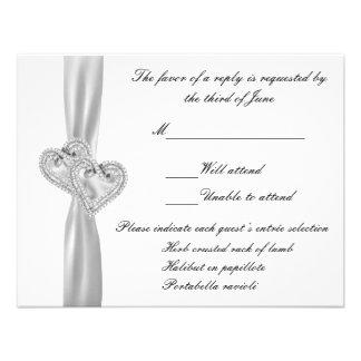 Tarjeta blanca de la respuesta del boda de los cor comunicados