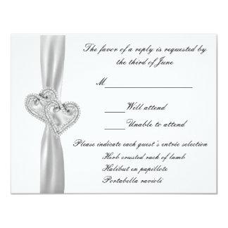 Tarjeta blanca de la respuesta del boda de los comunicados