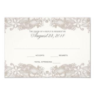"""Tarjeta blanca de la respuesta del cordón floral invitación 3.5"""" x 5"""""""