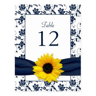 Tarjeta blanca de la tabla del boda del damasco tarjeta postal