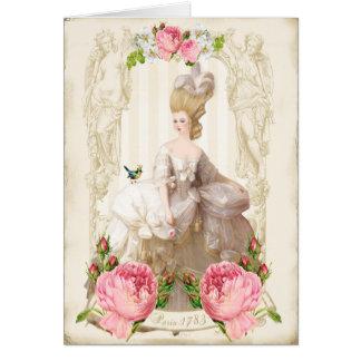 Tarjeta blanca de los rosas del dress&Pink de