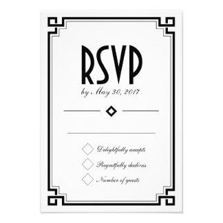Tarjeta blanca de RSVP del marco retro del art déc Invitación