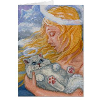 Tarjeta blanca del ángel del gato persa del CIELO