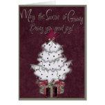 tarjeta blanca del árbol de navidad