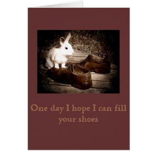 Tarjeta blanca del día de padre del conejito y de
