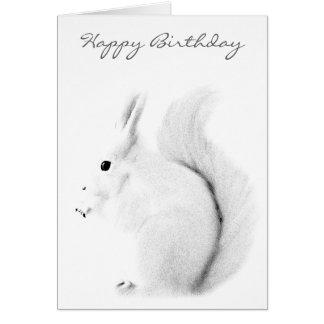 Tarjeta blanca del feliz cumpleaños de la ardilla