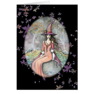 Tarjeta blanca del gato de la bruja de Beautifu Ha