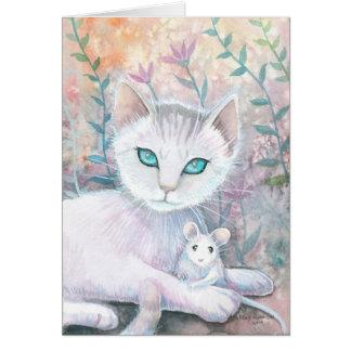 Tarjeta blanca del gato y del ratón
