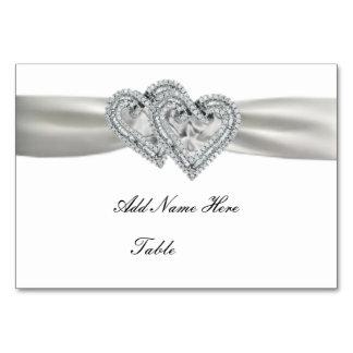 Tarjeta blanca del lugar del boda de los corazones