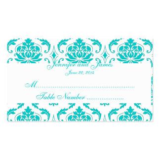 Tarjeta blanca del lugar del boda del damasco de tarjetas de visita