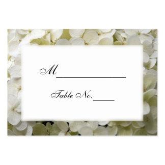 Tarjeta blanca del lugar del boda del Hydrangea Tarjetas De Visita Grandes