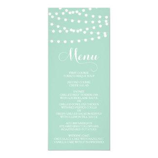 """Tarjeta blanca del menú del boda de la menta de invitación 4"""" x 9.25"""""""