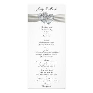 Tarjeta blanca del menú del boda de los corazones folleto publicitario 10 x 22,8 cm