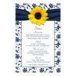 Tarjeta blanca del menú del boda del damasco de lo flyer a todo color
