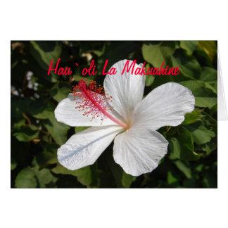 Tarjeta blanca feliz hawaiana del hibisco del día