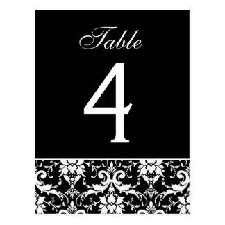 Tarjeta blanca negra del número de la tabla del postales