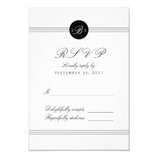 "Tarjeta blanca negra elegante de RSVP de la Invitación 3.5"" X 5"""
