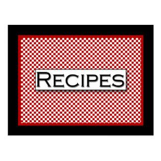 Tarjeta blanca negra roja de la receta del control tarjetas postales