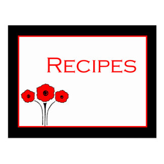 Tarjeta blanca negra roja floral de la receta tarjeta postal