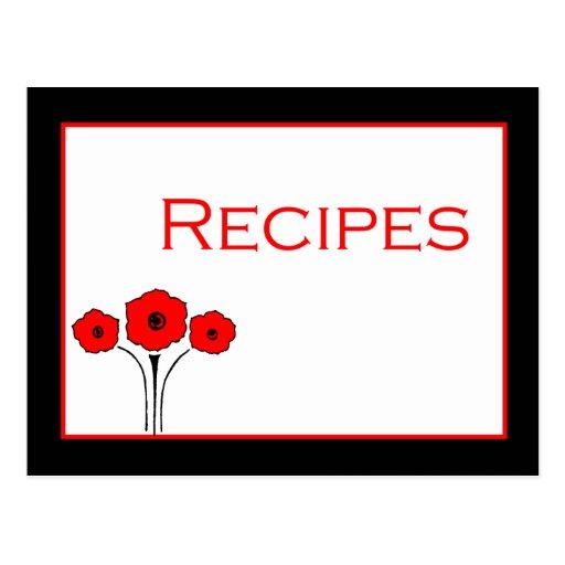 Tarjeta blanca negra roja floral de la receta tarjetas postales